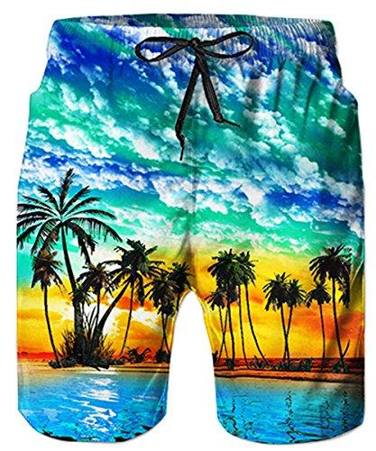 Idgreatim pantaloncini da spiaggia stampati casual da uomo tronchi da bagno hawaiiani quick dry con coulisse regolabile s
