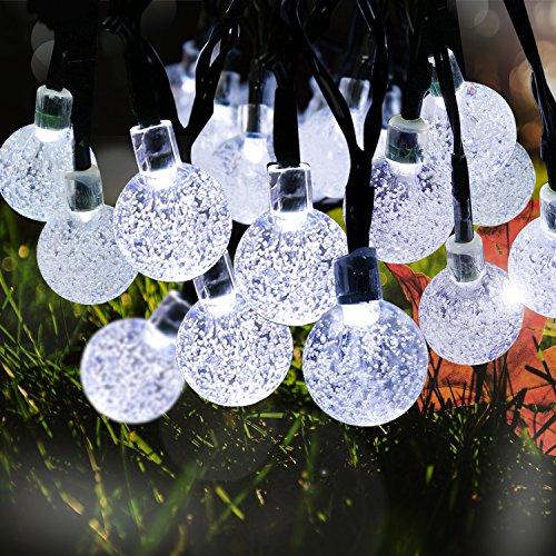 ketten, 4 M 30 LED Solar Kugeln Lichterkette Außen Crystal Ball-Schnur-Lichter wasserdichte mit 2 Modi warmweiß Außenlichterkette Wasserdicht mit Lichtsensor Weihnachtsbeleuchtung Beleuchtung für Weihnachten, Garten, Haus, Hochzeit, (weiß) (Halloween Stand Ins)