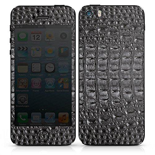 Apple iPhone SE Case Skin Sticker aus Vinyl-Folie Aufkleber Krokodilhaut Look Schwarz Krokodil Muster DesignSkins® glänzend