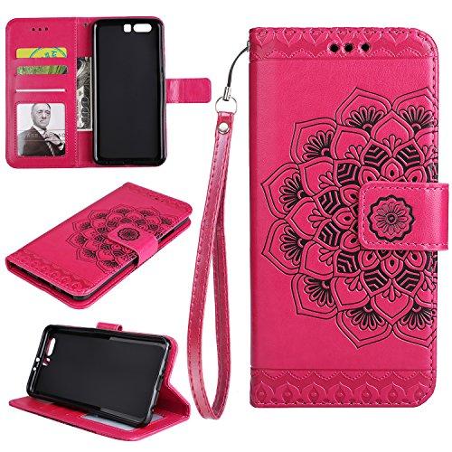 COZY HUT Custodia Huawei P10 Plus in Pelle con Interno TPU Antiurto, Supporto Stand, Carta Fessura e Chiusura Magnetica Flip Wallet Cover per Huawei P10 Plus - Mandala Rosa Rossa