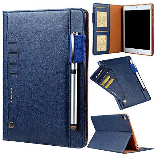TechCode iPad Pro 10.5 Hülle, Premium PU Leder Tasche Tablet Smart Stand Hülle Slim Fit Cover mit Kartenslot und Handschlaufe für iPad Pro 10.5. (Blau)