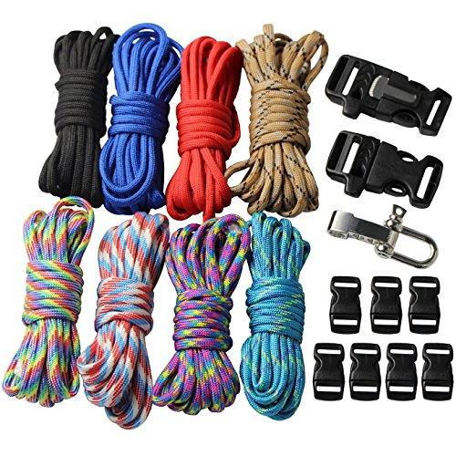 UOOOM 18 pezzi Kit per bracciali Paracord con fibbie Corda da paracadute corda per sopravvivenza corda Set fai da te da intrecciare a mano