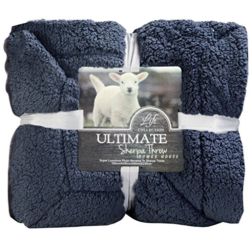 GRENSS Super weiches Kunstfell Sherpa Throw Blanket, Space Grau, 79 x 90 Zoll Blau Grau Throw Blanket