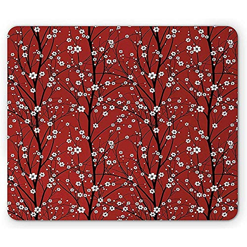 Vernähte Kanten Mousepad,Floral Mouse Pad Cherry Blossom Tree Branches Beauty Japanese Traditional Folk Eastern Petals Rectangle Non-Slip Rubber Mousepad 18X22Cm