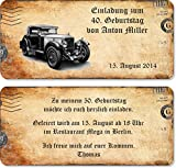 Einladungskarten zum Geburtstag, Auto 40 Stück
