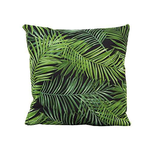 Fossrn Tropical Funda Cojines 45x45 - con Hojas Flor y Bird Lino...