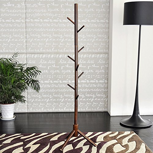 JJJJD Gummi Holz Garderobe Boden stehend mit 9 Haken, Baum Kleidung Hut Aufhänger Rack Organizer Schlafzimmermöbel, 18,9x67,3 Zoll (Color : B) (Rack Hut Boden)