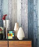 NEWROOM Holztapete Tapete Blau Holzbalken Holz Landhaus Vliestapete Vlies moderne Design 3D Optik Holztapete Holzwand Naturholz Holzpaneele Vintage inkl. Tapezier Ratgeber
