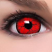 Farbige Mini Sclera Kontaktlinsen Lenses  Devil  inkl. 10ml Kombilösung und Behälter - Top Linsenfinder Markenqualität, 1Paar (2 Stück)
