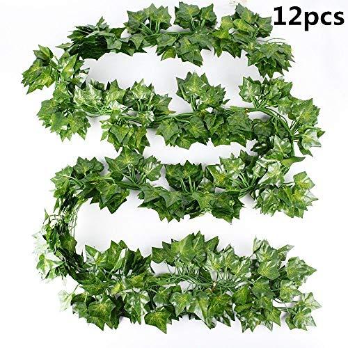 Artificial Guirnalda Plantas,Plantas Hiedra Artificial 12 Piezas Follaje de Seda de Colgante...