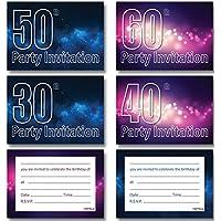 30th 40th 50th 60th 70th 80th Blue Space Night Sky Stars Pink Bokeh