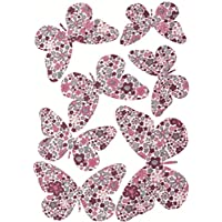 plage 301510 3D Charming Butterfly Stickers Rose Liberty Butterflies [7 Butterflies Between 8 x 6,5 cm and 14 x 11 cm], plastique, 14 x 0,1 x 11 cm