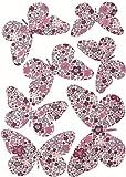 DECO 3D - Papillons liberty Louise - 7 papillons de taille différente par pochette - rose