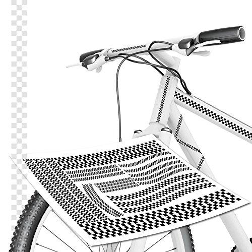 Tops Kundenauftrag (Karo Aufkleber Fahrrad Racing Stripe Karoaufkleber Fahrradaufkleber *TOP* schwarz / weiß)