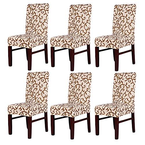 Confezione da 6coprisedia elasticizzati, lavabili e removibili per hotel, ristoranti, feste, sala da pranzo ChampagneCoffee