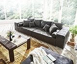DELIFE Bigsofa Marbeya Anthrazit 285x115 cm Antik Optik inklusive Hocker Big Sofa