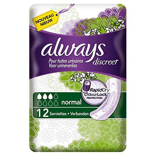Always Discreet Servietten Normal für Blasenschwäche und Inkontinenz X12