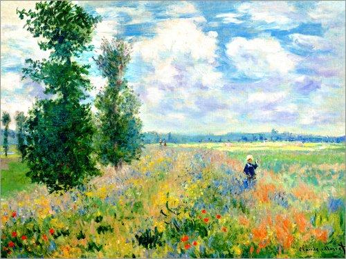 Posterlounge Leinwandbild 80 x 60 cm: Das Mohnfeld von Claude Monet - fertiges Wandbild, Bild auf...