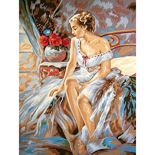 Collection D'Art CD10439 Leinwand für Stiekerei mit gedruckten Muster, Gobelin, Baumwolle, antik, 40 x 50 x 0,1 cm (Gobelin-bank)