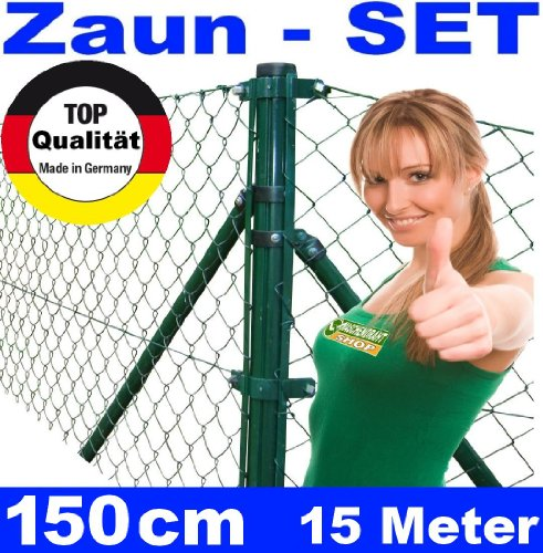 *Maschendrahtzaun – SET 150 cm 15 Meter lang*