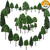 Bememo 33 Pezzi Alberi Modello 1.18 - 6.29 Pollici/ 3 - 16 cm Treno ad Albero Modello Misto Albero di Treno Albero del Diorama Alberi di Architettura per Fai Da Te Paesaggio, Verde Naturale