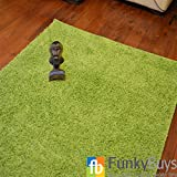 """FunkyBuys® LIME GREEN Luxury Branded Rug Large XL Size Thick Polypropelene Soft Shaggy Rugs Non Shed Modern High Pile 66 x 110cm (2ft 3"""" x 3ft 7"""")"""