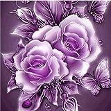 sunnymi Lila Vase 5D Diamond Painting DIY Für Stickerei Malerei Deko mit Kleben Diamant Bilder Full Bilder Set Kreuzstich Wanddekoration (Vintage Blume, 25 * 25cm)