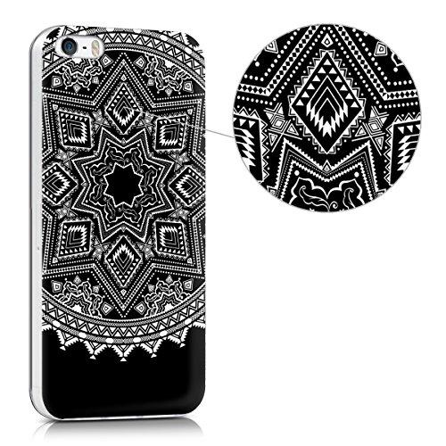 kwmobile Hülle für Apple iPhone SE / 5 / 5S - TPU Silikon Backcover Case Handy Schutzhülle - Cover klar Weltkarte Umriss Design Gold Transparent Sonne Aztec IMD Weiß Schwarz