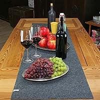 lana naturalis® Exclusive edle XXL Tischläufer aus weichem Filz - wunderschöne Farben, strapazierfähig und abwaschbar (Dunkelgrau)