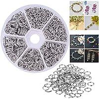 Velidy - 600 anillos de doble capa de acero inoxidable 304, 5/6/7/8/10/14 mm de diámetro, con una caja de plástico para llavero, accesorios de joyería