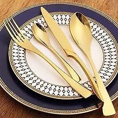 Idea Regalo - LEKOCH 4-pezzi posate in acciaio inox tra cui forchetta cucchiaio coltello posate Set per 1 (d'oro)