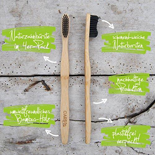 4er-Pack Holzzahnbürste aus nachhaltigem Bambus-Holz ♻ BPA-freie Bambus Holzzahnbürste, plastikfrei verpackte Bambus-Zahnbürste ♻ Zahnbürste mit Bambus-Holzkohle für gesunde und weiße Zähne - 3