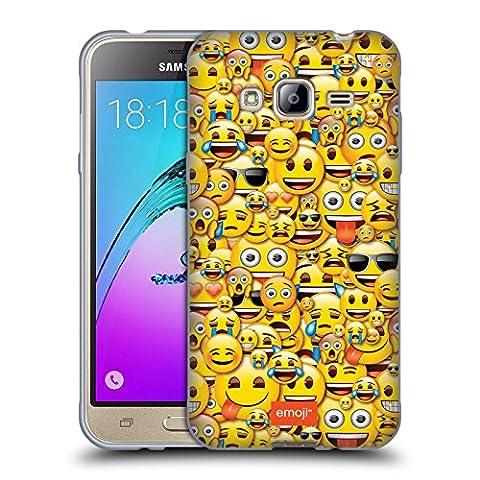 Officiel Emoji Smileys Modèles Pleins Étui Coque en Gel molle pour Samsung Galaxy J3