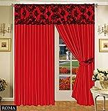 Roman Vorhang Ornament Barock Rot Schwarz Gardinen mit Kräuselband 2 Vorhänge 167x183cm (BxH) Gardine für Wohnzimmer Schlafzimmer -2er set