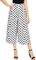 Rooliums  (Brand Factory Outlet Women's Trendy and Stylish Blue Polka Dot Printed Culottes/Palazzo Capri- Free Size