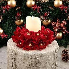 Idea Regalo - EDG ENZO DE GASPERI Ghirlanda Centrotavola Girocandela Natale Shabby Chic Magnolia Velluto Rosso Diametro 20 cm