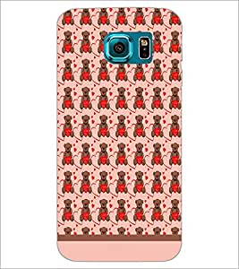 PrintDhaba Love Teddy Pattern D-1603 Back Case Cover for SAMSUNG GALAXY S6 EDGE (Multi-Coloured)