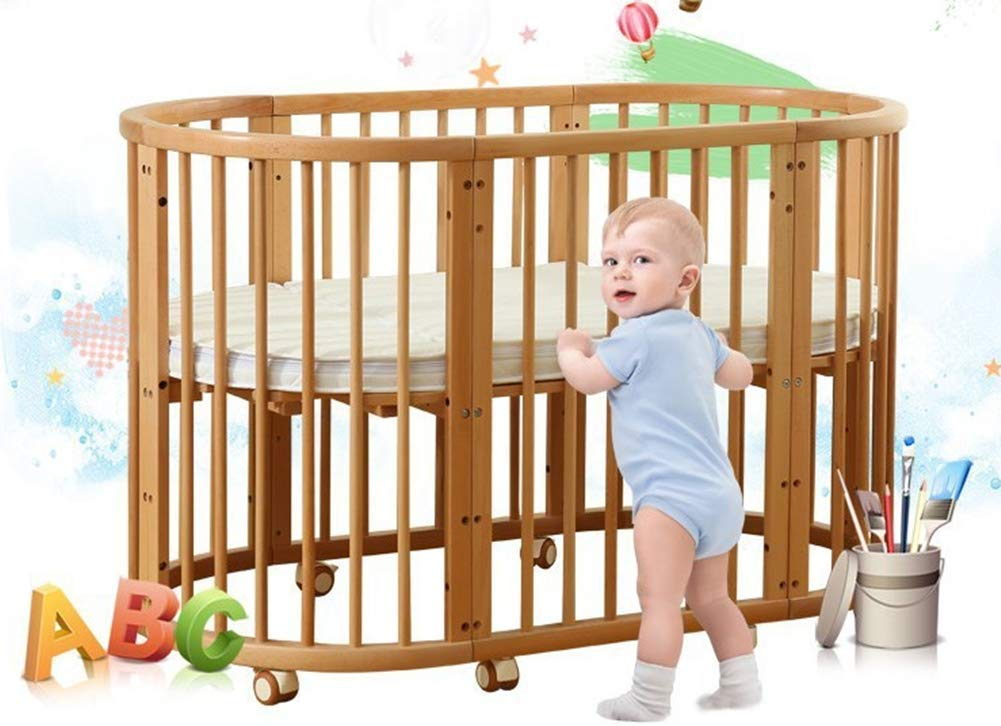 KLI 5 In 1 Multi Function Newborn Infant Crib Solid Harmless Paint Wood Baby Cradle Rocking Bed,125 * 73 * 76Cm KLI Shipping list : crib Size:125*73*76cm. Natural pine wood, harmless paint, polished and smooth, environmental wood, good for your baby 3 grade height adjustment: grade 1 (39cm from the floor)can be used for baby in 0-6 month, convenient to take out baby; grade 2 (26cm from the floor) for baby in 6-12 months and can stand independently;grade 3 (15cm from the floor) for baby in 1-3 years old. 7