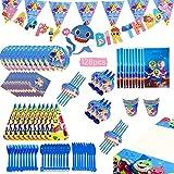 boogift 128 Piezas Baby Shark cumpleaños Supplies Set,Shark Party Supplies Decoraciones,Shark Party Decoration banderines cumpleaños, vajilla desechable cumpleaños Mantel de Tiburon Fiesta (Azul)