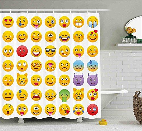 Nyngei Emoji Duschvorhang Cartoon Wie Smiley Gesichter von Mosters Glücklich Traurig Wütend Wütend Stimmungen Ausdrücke Drucken Stoff Badezimmer Dekor Set mit180 cm Gelb