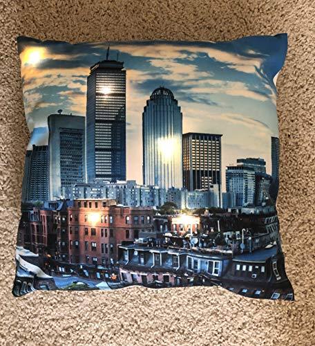 Pillowfy Kissenbezug mit LED-Licht - Boston Skyline - Nachtlicht, Nachtlicht, LED-Lampe Nur Abdeckung! 40,6 x 40,6 cm