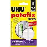 UHU Patafix Deco, Pâte à fixer, pastilles prédécoupées Super-Fortes (Jusqu'à 2 kg) et Repositionnables, 32 pastilles, Blanche