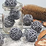 10PCS Grey Decorative Wicker Rattan Ball Vase Filler Wedding Baby Shower Festival Christmas Hanging Party Decoration Nursery Mobiles