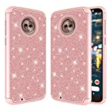 Ferlinso Moto G6 Case, Sparkly Glitter Bling Hybrid Dual Layer Anti-shock Armor Protective Smartphone Cover Case Moto G6 (Rose Gold)