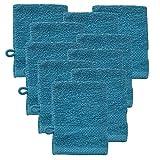 [neu.haus] 10 x Guanti da Bagno di Spugna 15 x 21 cm Spugna Bagno Asciugamano 100% Cotone 450 g/m² Celeste