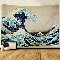 Amkun Tapestry Wall Hanging, Great Wave Kanagawa Wall Tapestry with Art Nature Home Decorations for Living Room Bedroom Dorm Decor (Wave, 150x130cm)