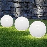 Deuba LED Solarkugel opalweiß Ø 30cm 4 lichtstarke LEDs LED Solarleuchte Gartenkugel Leuchtkugel