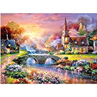 5D Full Drill Diamond Painting Kit Town Scenery Picture, Chougui DIY Diamond Rhinestone Embroidery Cross Stitch Painting by Number Kits for Home Wall Decoration(Frame NOT Included)