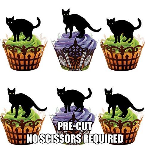 arze Katzen Halloween - Essbare Cupcake Topper / Kuchendekorationen (12 Stück) (Halloween-lebensmittel Streich Ideen)