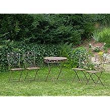 Mesa y 4 sillas de hierro forjado de hierro muebles de jardín de piedra marrón